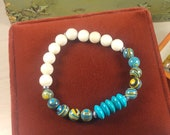 Pretty Turquoise, Calsilica, and Fossil Stone Stretch Bracelet