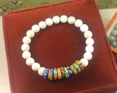 Multicolored African Trade Beads with Fossil Beads Stretch Bracelet