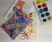 One-of-a-Kind Hand Painted Postcard Bundle! Three Cards, Floral