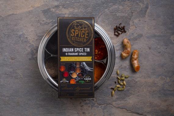Indian Spice Tin - Masala Dabba - Spice Tin - Spices Set - Gift for Foodie - Gift for Chef - Award Winning Garam Masala - Spice Rack Box