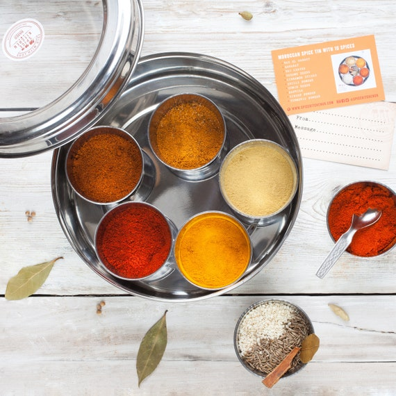 Ten Moroccan Spices and Spice Tin - Gift for Foodie - Ras El Hanout - Baharat - Spice Tin - Spice Rack Box - Masala Dabba - Tagine Spices