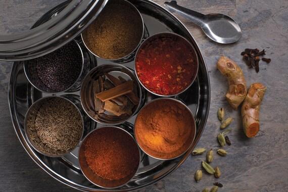 Spice Kitchen Indian Spice Tin - Masala Dabba - Spice Tin - Spices Set - Gift for Foodie - Gift for Chef - Award Winning Garam Masala
