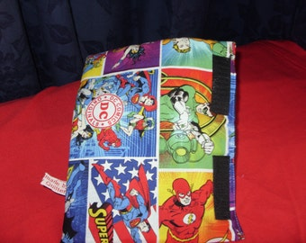 Seat belt cuffs made from DC comic fabric