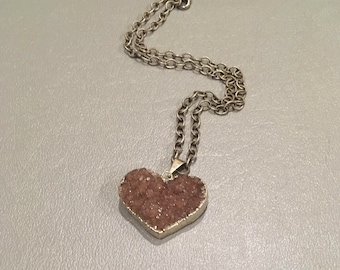 Pink Purple Heart druzy necklace on silver plated chain