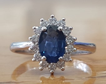 Real Blue Sapphire Ring, Sapphire Engagement Ring, Vintage Sapphire Ring