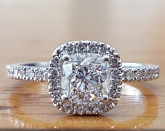 Cushion Cut Engagement Ring, 14K Gold Ring, Halo Engagement Ring, 1 1/2 Carat Diamond Ring