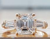 2 Carat GIA Diamond Asscher Cut Engagement Ring, Estate Engagement Ring, Square Emerald Diamond Ring, 3 Stone Engagement Ring