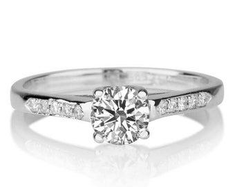 1/3 Carat Diamond Engagement Ring, White Gold Cathedral  Engagement Ring