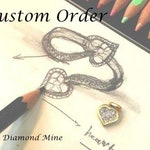 Custom made 14k White Gold Diamond Matching Curved Band - Down Payment