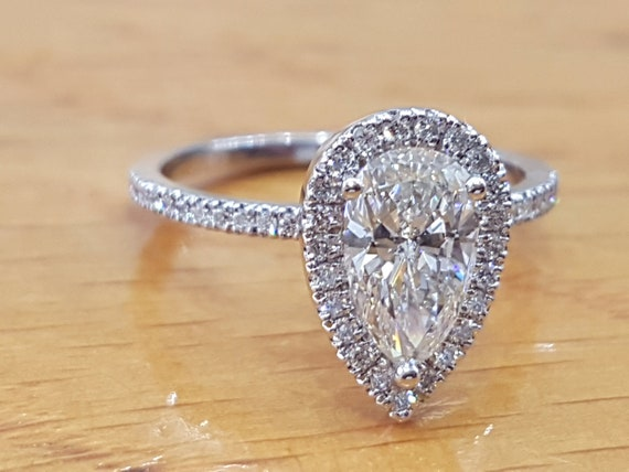 1 Carat Pear Shaped Engagement RingHalo Pear Cut Diamond