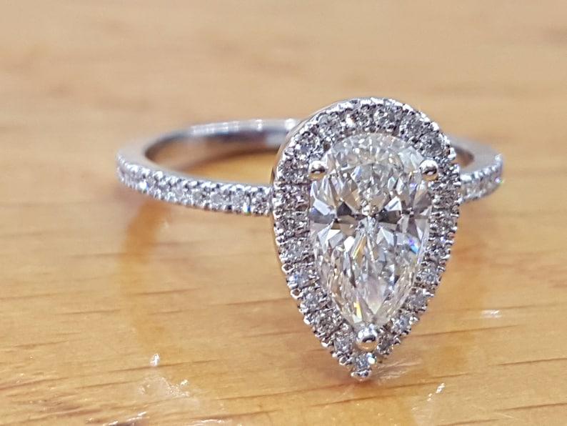 db98e2a9c3da4 1 Carat Pear Shaped Engagement RingHalo Pear Cut Diamond
