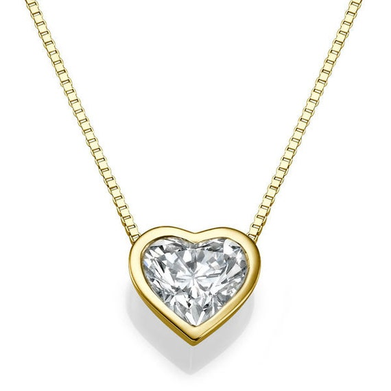 Heart shape diamond pendant necklace 14k gold necklace love etsy image 0 aloadofball Choice Image