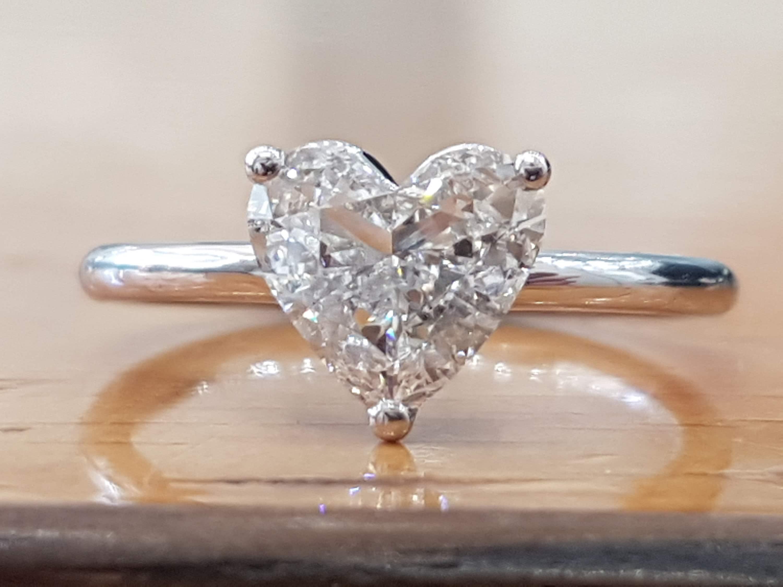 f3d8d76185c13 1 Carat Heart Diamond Engagement Ring, Solitaire Diamond Ring, Heart Shaped  Diamond Ring, Solitaire Engagement Ring White Gold