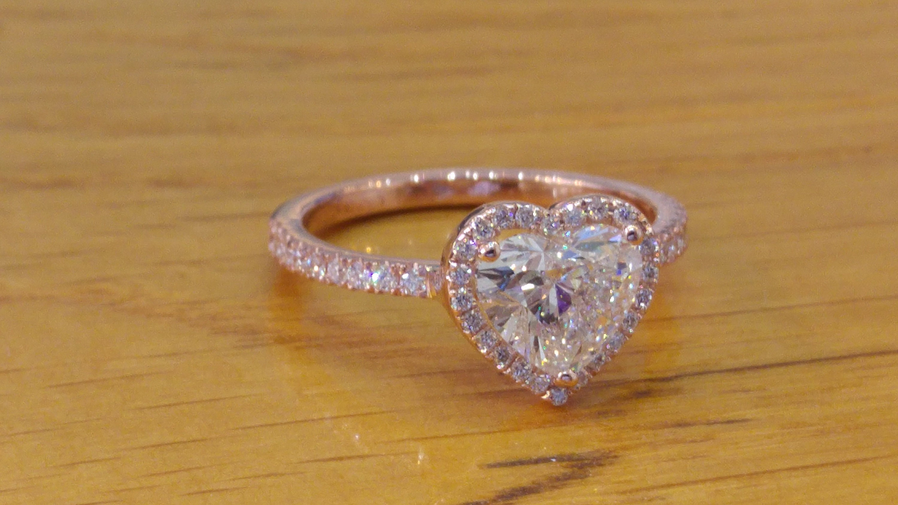 1 1 2 Carat Rose Gold Engagement Ring Heart Shaped Engagement