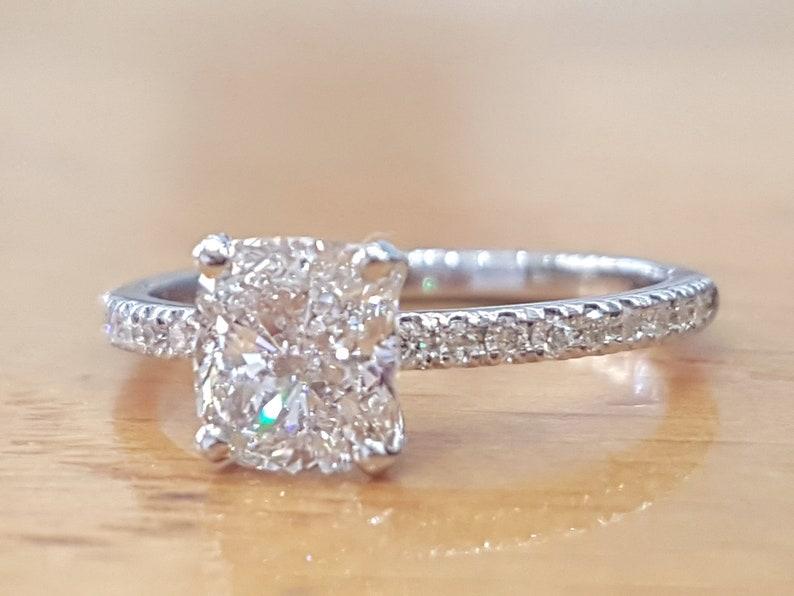 1 Carat Cushion Diamond Engagement Ring Solitaire Ring Diamond Ring Engagement Ring Vintage Ring Women Side Stones Anniversary Ring
