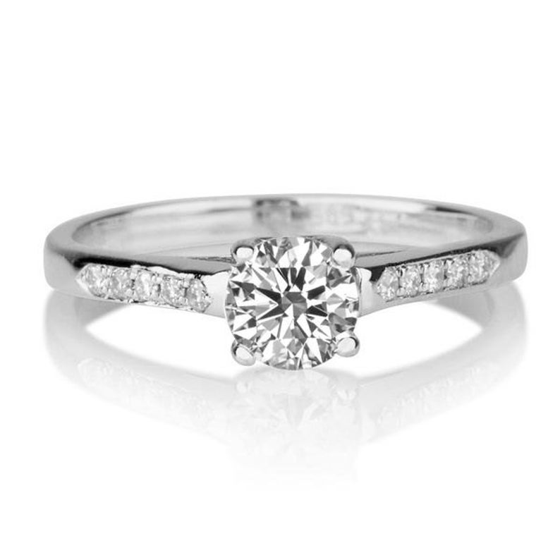500a51e95b500 1/3 Carat Diamond Engagement Ring, White Gold Cathedral Engagement Ring