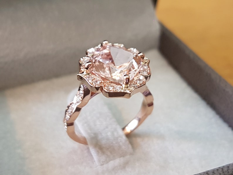 362b2317c167e 3 Carat Morganite Engagement Ring Rose Gold Cushion Morganite Ring