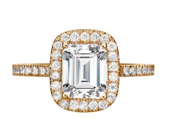 1 1/2 Carat GIA Emerald Cut Engagement Ring, Halo Diamond Ring
