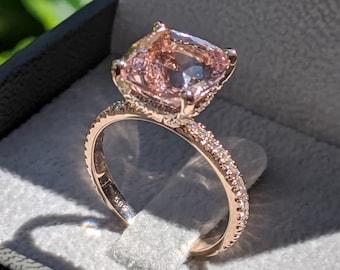 3 1/2 Carat Morganite Engagement Ring Rose Gold Cushion Morganite Ring Hidden Halo Diamonds Cushion Morganite Ring