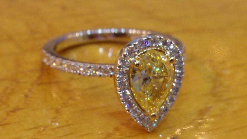 1 Carat Pear Diamond Ring Pear Engagement Ring Pear Halo image 0