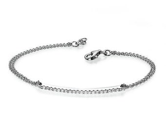 Unique Diamond Bracelet - 14k White gold 1/5 Carat Diamond Bracelet, Gold Chain Bracelet