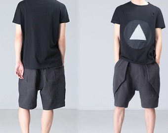P061---Men/'s Linen Cotton Blend Shorts Drop Crotch Unisex Linen Shorts Made to Order.