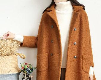 450-Women's Loop-Yarns Wool Oversized Coat, Double Breasted Wool Trapeze Coat, Simplicity, Cape Coat, Poncho Coat, Caramel A-line Coat.