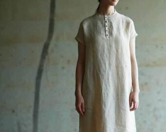 5d58e4de8d04b 579----Simplicity Linen A Line Dress