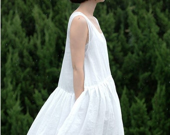 8826a2b1b750f A86---Pleated Babydoll Dress, (Excluding Inner Slip) , Off White Ramie  Sleeveless Maxi Summer Dress, Plus Size, Wedding Dress, Maternity.