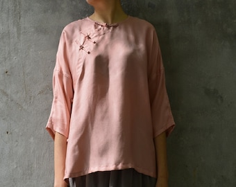 7b5be9ac7cfaec A137---Pink Silk Chinese Blouse / Simplicity Cheongsam Top / Tee, 3/4  sleeves, Made to Order.