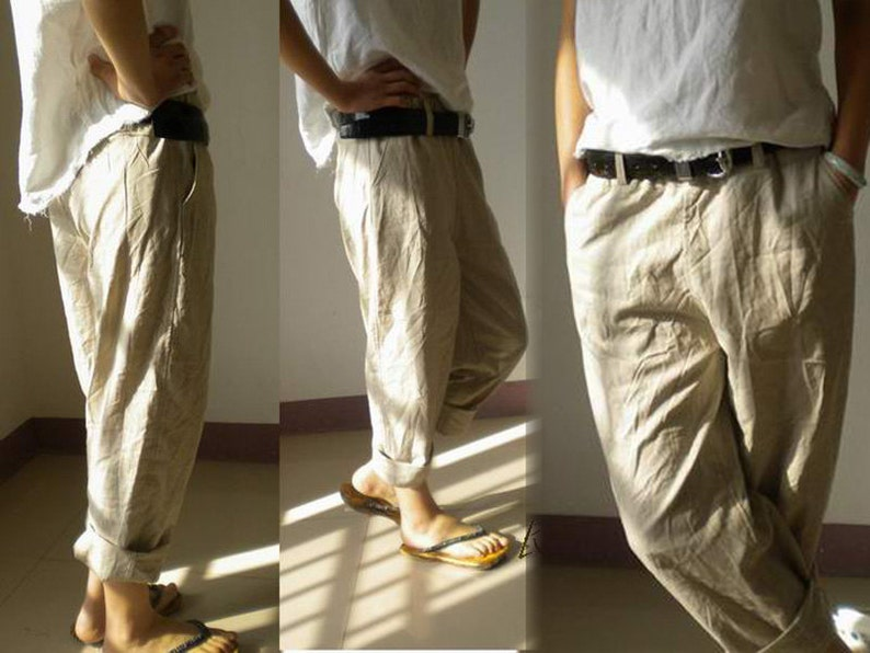 028Slightly Tapered Boyfriend French Linen pants Excluding image 0