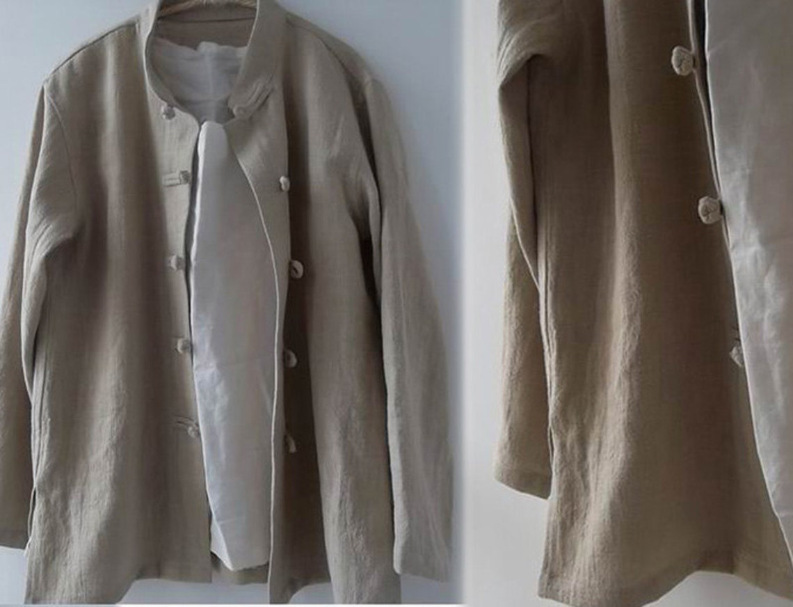 039---men's Long Sleeve Stand Collar Shirt Jacket With Chinese Frog Buttons, Natural Linen Shirt, Modified Tang Suit, Costume