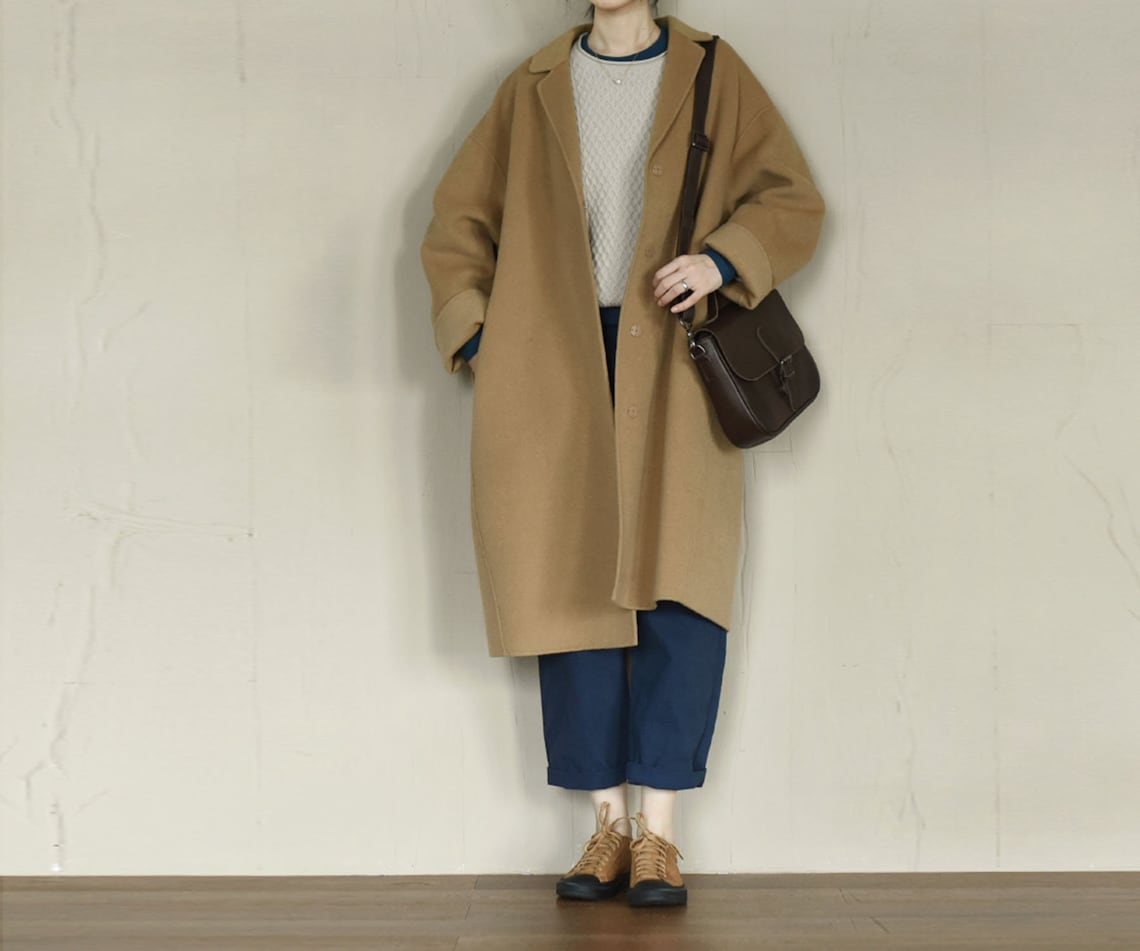 Q066---oversized Double-faced Wool Coat, Minimalist Camel Made To Order.