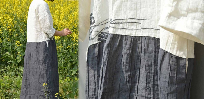 468---Hand Embroidered  Bi-color Ramie Dress Two-tone Tunic Made to Order.