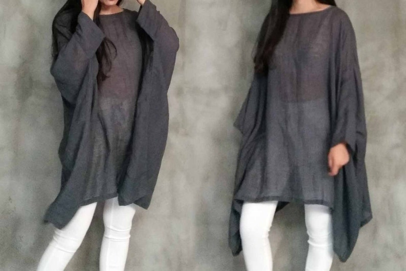 Plus Size, Resort  Beach Weaer Caftan Linen Tee 199---Linen Dress\uff0c Oversized Gray Loose Tunic Dress\uff0c Linen Gauze Top
