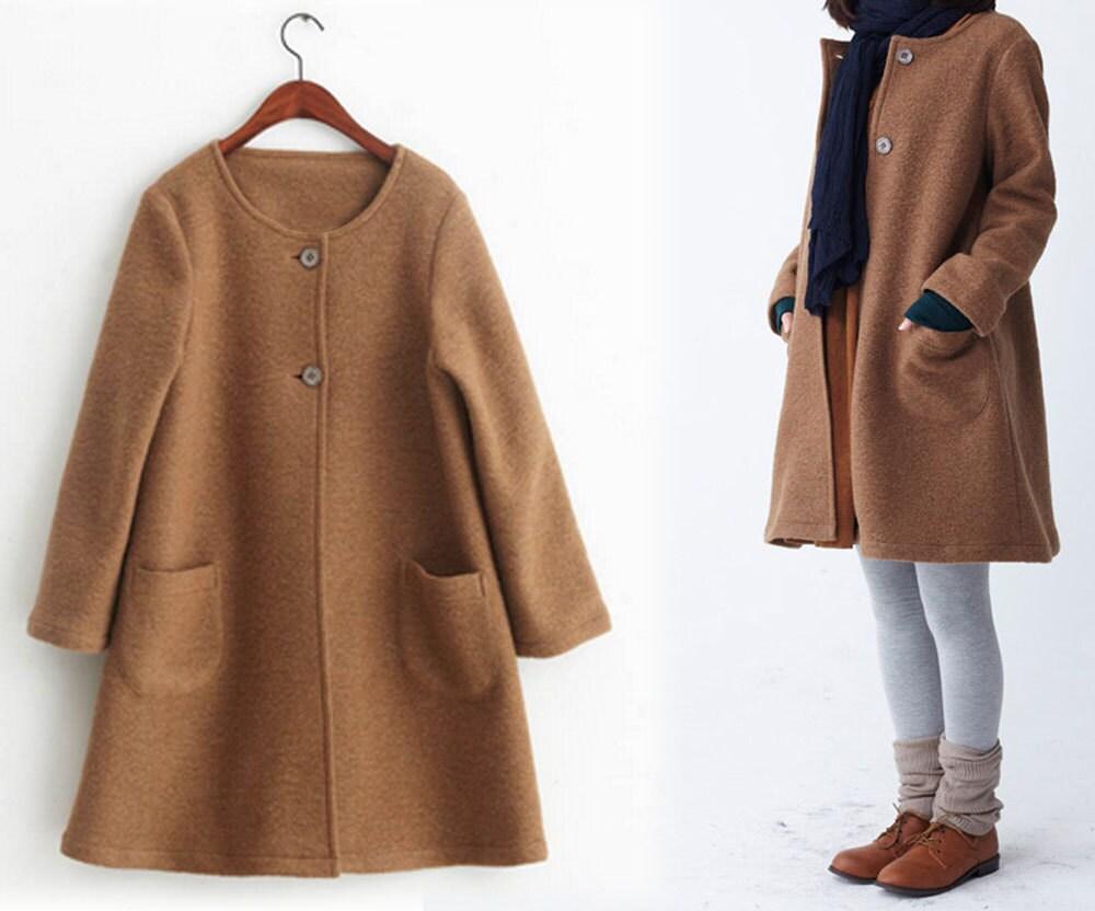 8bea0925b 249Women s Winter Boiled Wool A-line Coat Camel