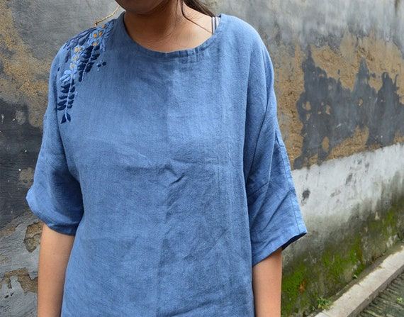 A55A---Blue Washed Basic Linen Top, Summer Basic Washed Tee, Blouse, T-shirt, Simplicity, with Hand Embroidery, Made to Order. 45c2a4