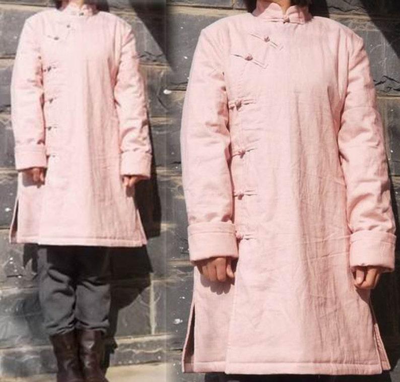 95008aa708 247 Women s Winter Coat Padding Pink Linen Coat