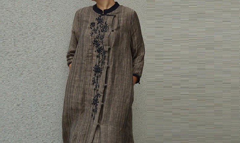 Fall Duster Jacket Apring with Contrast Mandarin Collar and Embroidery A73---Linen Chinese Trench Dress oat Made to Order.