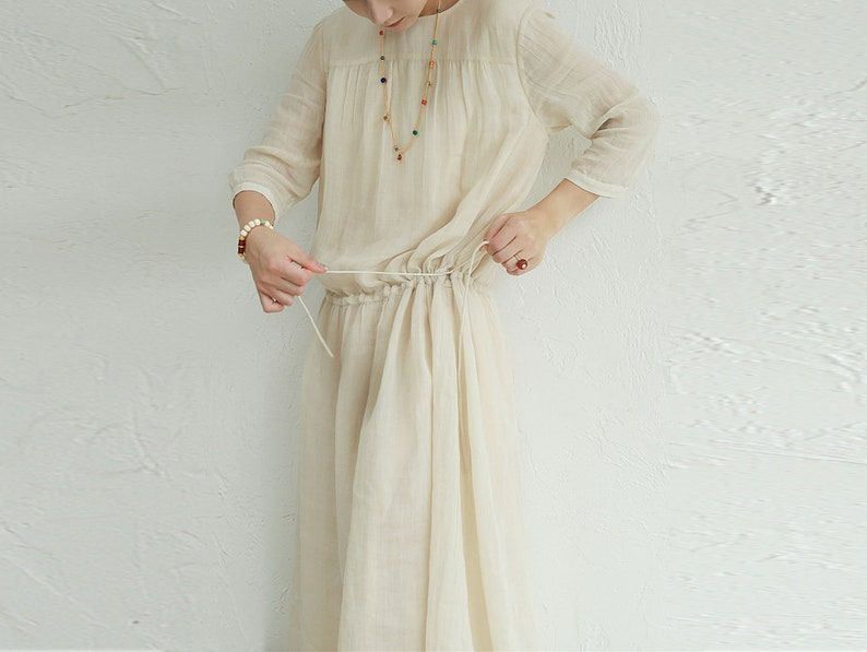 in Cream Color I022---High Counted Crinkled Ramie Dress Ankle Length Low Waist 34 Sleeves Made to Order.