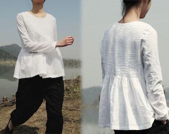 167---Pintucked White Linen Blouse, Handmade Linen Blouse, Women's Linen Clothing, White Blouse, Hand Pin Tucked.