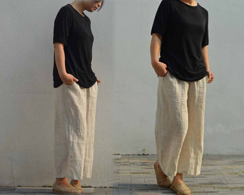 d29035aea32 498Loose Fitting Washed Linen Cropped Wide Leg Pants Flax