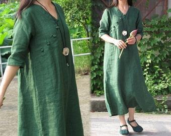 165---Green Linen Dress, Modified Chinese Cheongsam Dress, Handmade Tunic.