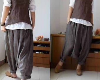 125---Loose Yarn Dyed Linen Harem Pants, Natural Loose Linen Pants , Women Linen Trousers ,  Lithuania Linen Fisherman, Maternity.