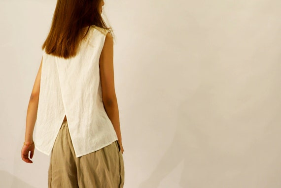 901washed Linen Cross Back Tank Top Off White Tee Made To Etsy