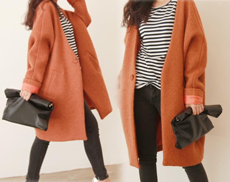 1782e891e20 070-Women s Bouclé Overcoat Oversized Orange Coat Winter