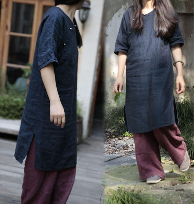 Mandarin Gown 197---Navy Blue Linen Modified Qipao Dress Cheongsam Made to Order. Cheong-Sam