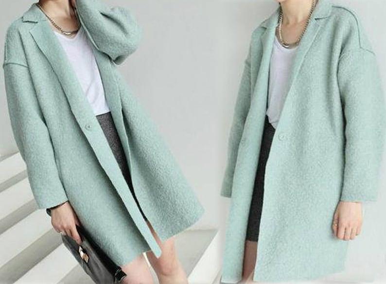 enjoy big discount sold worldwide get online 106---Women's Boucle Tulip Cocoon Mint Coat, Supersized, Oversized, Notched  Lapel Unlined Coat, Winter Sweater Jacket for Petites.