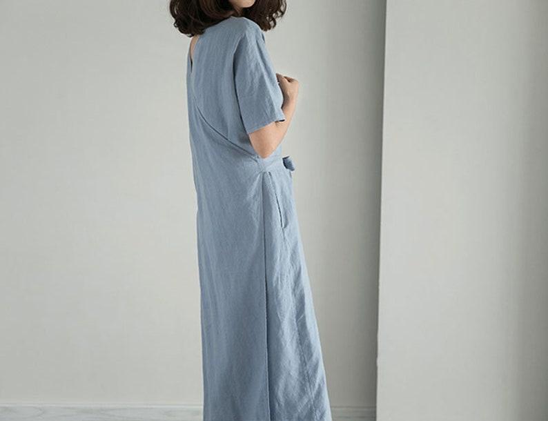 Made to Order. V Neck Wrap Dress Versatile Back Side Front Maxi Robe Dress B43---Black Linen Tea Dress Foggy Blue Cocktail Dress