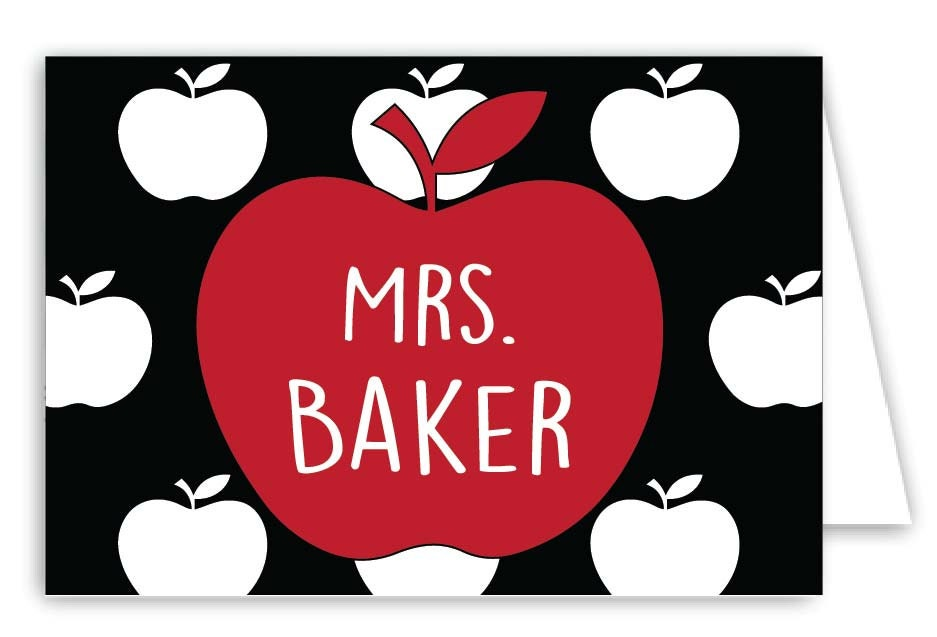 personalized teacher folded note cards set of 30 monogram notes - Personalized Folded Note Cards